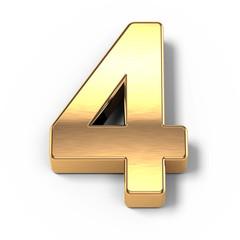 3d Gold metal numbers - number 4
