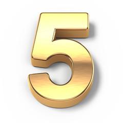 3d Gold metal numbers - number 5