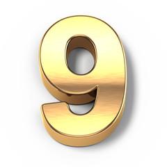 3d Gold metal numbers - number 9