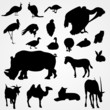 set of silhouettes of animals on zoo