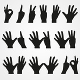 Set of numbers in the form of hands from 1 to 10