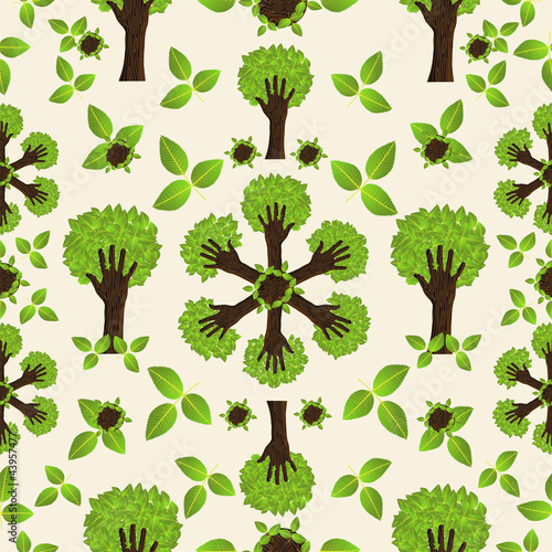 Hand green forest pattern