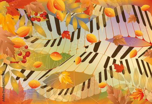 Musical autumn banner. vector illustration
