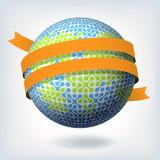 Abstract globe symbol with orange ribbon. Vector illustration, E