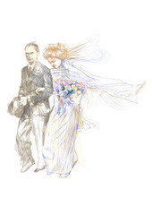 hand-drawn picture wedding day, bride and groom