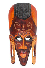 African hand carved wooden warrior Maasai mask isolated