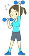 ダンベル体操女性