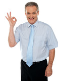 Cheerful male executive showing okay sign