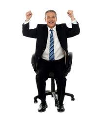 Successful business gesturing happiness