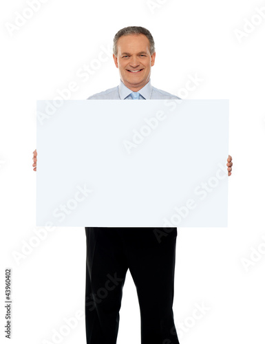 Experienced male representative with ad board