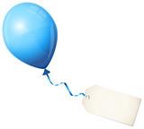 Flying Blue Balloon & Beige Label