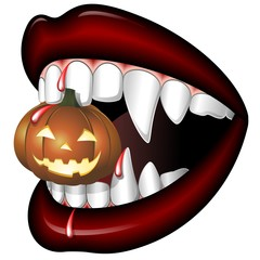 Halloween Bocca di Vampiro-Scary Vampire Mouth with Pumpkin