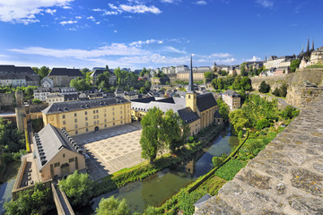 View from the city ramparts down to Neumünster Abbey, Luxembour