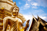 Fototapety Golden Buddha statue in Thailand Buddha Temple.