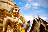Fototapety Golden Buddha statue in Thailand Buddha Temple.