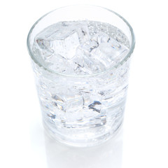 single glass of ice and water
