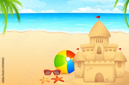 Papiers peints Chateau vector illustration of sand castle on sea beach