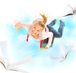 Back to School. Schoolgirl Flying With Her Books and Notebooks