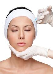 Botox upper lids correction, isolated, white background