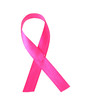 Pink breast cancer ribbon isolated on white