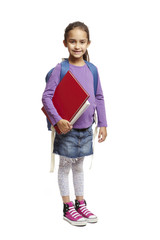 8 year old school girl with backpack on white background
