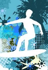 Surfer - Abstarkte Silhouette