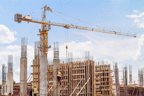 Construction site and a crane