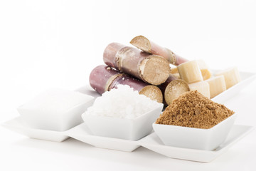 Various kinds of sugar on white background