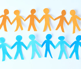 teamwork, paper people over white background
