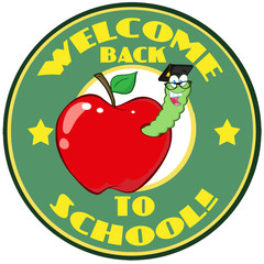 Worm In Apple Over Sticker With Text Back To School