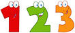 Numbers One,Two And Three Funny Cartoon Mascot Characters