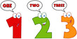 Numbers One,Two And Three Cartoon Characters With Speech Bubbles