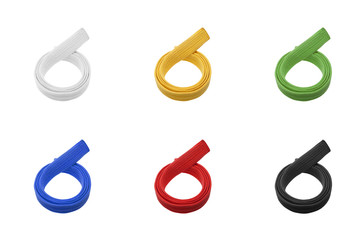 Martial arts belts in various colors isolated