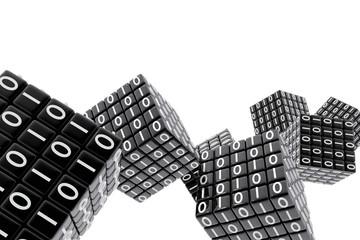 Cubos con números de código binario