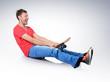 Funny humorous man on skateboard