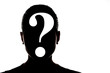 black head silhouette on white background with question mark