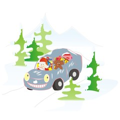 car and Santa Claus