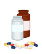 Prescription medicine bottles and pills
