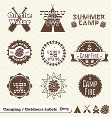 Vector Set: Camping and Outdoor Labels and Stickers