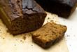 Baked gingerbread with fissured brown crust