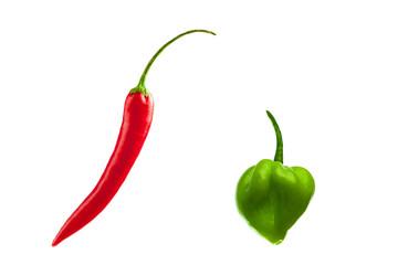 Rote und grüne Chilischoten