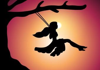 Swing at sunset