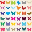 butterflies silhouettes, set of various shaped butterfly