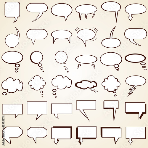 Collection Speech Bubbles, set of text bubbles