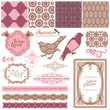 Scrapbook Design Elements - Vintage Tiles and Birds- in vector