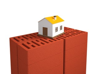 A small house is on the bricks