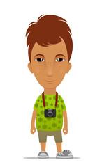 Cartoon tourist with a camera