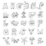 Animal alphabet, pencil draft of the line style