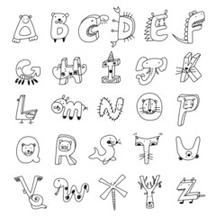 Animal alphabet, pencil draft of the line style