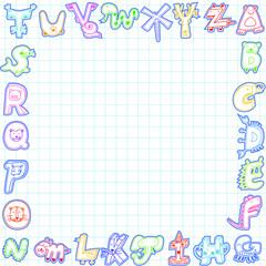 Cartoon animals alphabet card ,sample text here